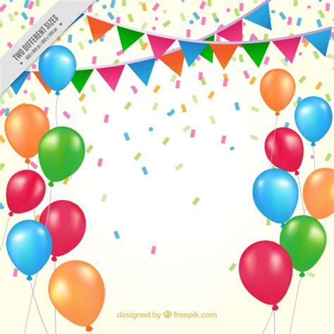 background birthday balloons and pennants vector free