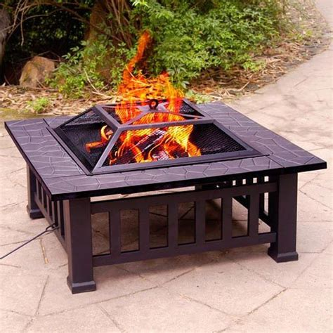 portable backyard fire pit 32 inch square fire pit outdoor fireplace heater bbq wood