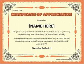 In Appreciation Certificate Templates by Certificates Of Appreciation Templates For Word