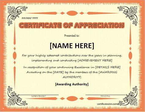 certificates of appreciation certificates of appreciation templates for word