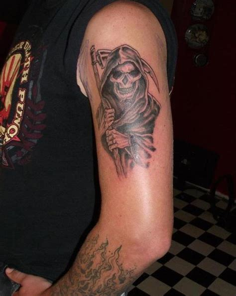 side of forearm tattoos grim reaper arm related keywords grim reaper arm