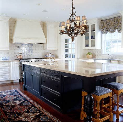 cream kitchen island navy blue and cream create a gorgeous contrast in this
