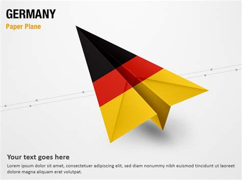 powerpoint layout germany paper plane with germany flag powerpoint map slides