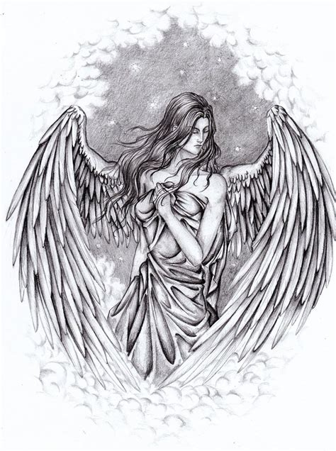 guardian angel wings tattoo designs pencil drawings of guardian by yazoolovrec