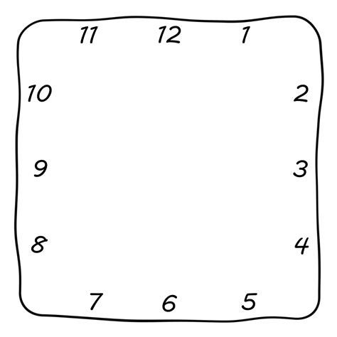 printable square clock face clock square png clipart best