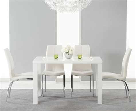 White Dining Table With Chairs Atlanta 120cm White High Gloss Dining Table With Cavello Chairs The Great Furniture Trading
