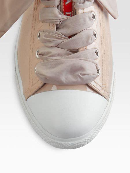 Big Ribbon Shoes Murah Meriah prada patent leather ribbon laceup sneakers in cipria powder lyst