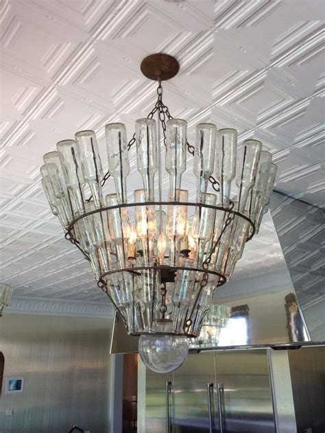 The Kitchen Chandelier Is Made From Upcycled Bottles Recycled Chandelier Ideas