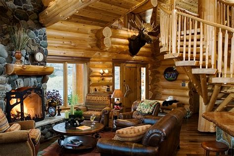 beautiful log home interiors log cabin style decor idea with leather sofa and stone
