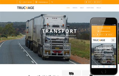Truckage A Transportation Category Flat Bootstrap Responsive Web Template Truck Transport Website Templates Free