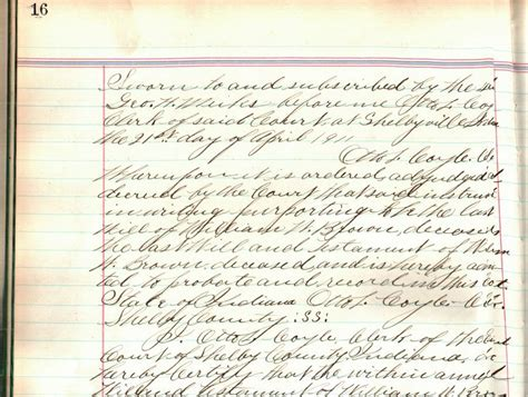 Will County Court Records Shelby County Indiana History Genealogy Wills William