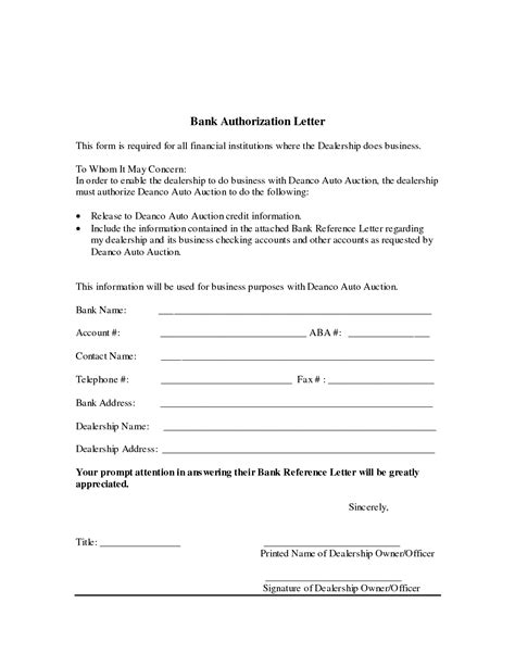 authorization letter format for noc authorization letter for bank writing may necessary when