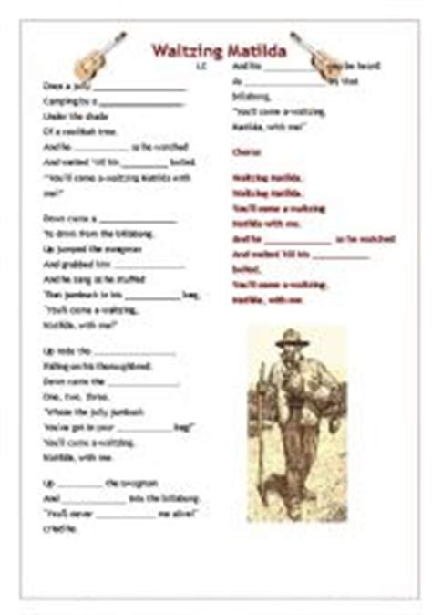 printable lyrics waltzing matilda english worksheet waltzing matilda song lyrics