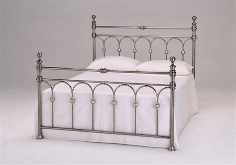 Nickel Bed Frames 4 6 Metal Bed Frame Brushed Nickel With Slats Homegenies