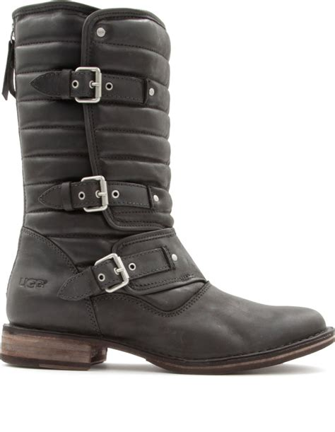 black leather ugg boots ugg tatum leather biker boots in black lyst