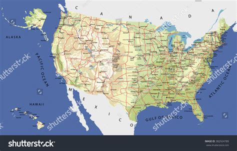 united states map with rivers and cities highly detailed map united states cities stock vector