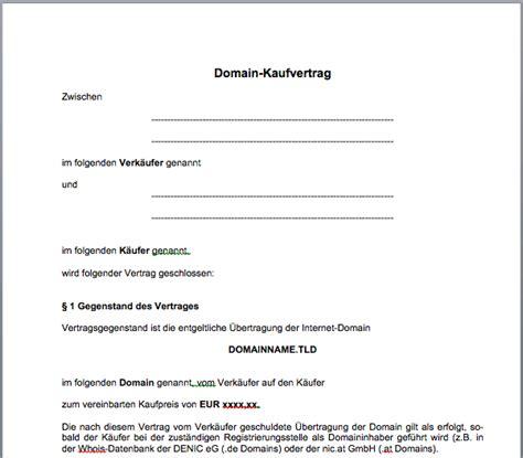 Kaufvertrag Motorrad Word Kostenlos by Domain Kaufvertrag Mustervorlage Gfrerer