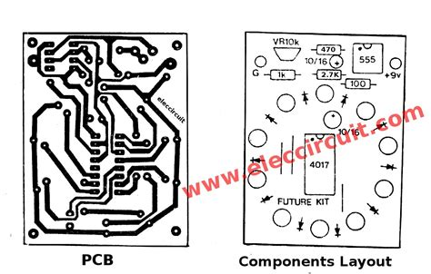 layout running led led chaser circuit using ic4017 and ic555 eleccircuit com
