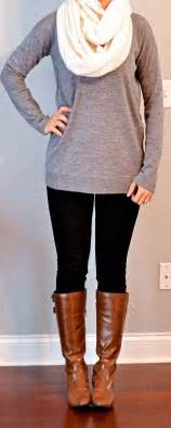 What To Wear With A White Infinity Scarf Post Grey Tunic Sweater Black