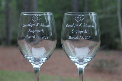 Monogrammed Barware Glasses 2 Wine Glasses For The Engaged Personalized Wine