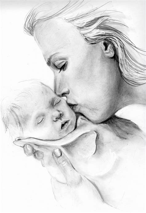 Pencil Sketches Of Mother And Child Pencil Art Drawing Sketches For