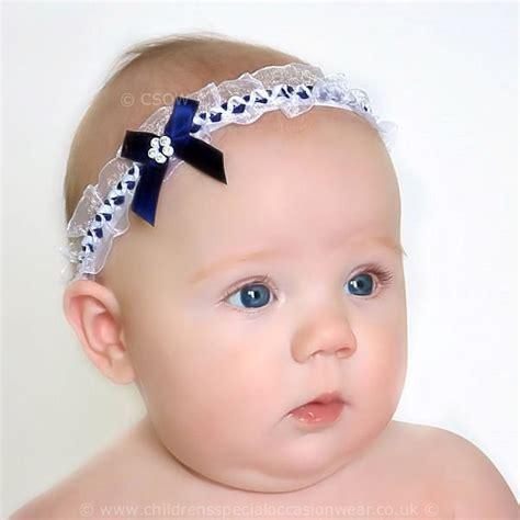 Spesial Headband Baby Milley Navy baby navy white organza headband with satin diamante bow