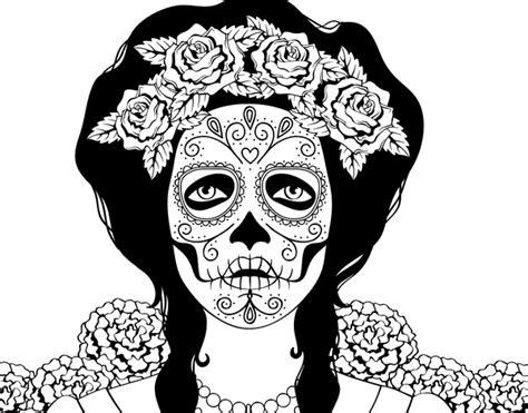 imagenes png calaveras dibujo de mujer calavera mejicana para colorear dibujos net