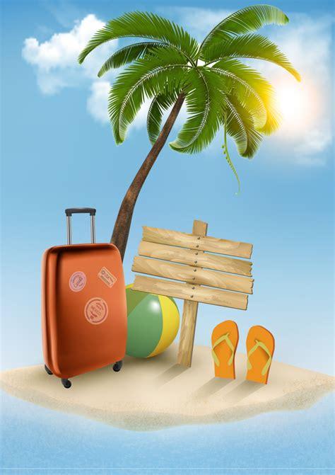 cartoon vacation wallpaper summer vacation beach background vector free vector
