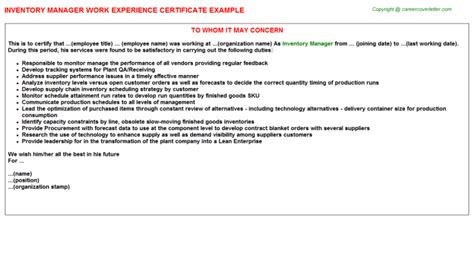 Experience Letter Buy inventory work experience certificates