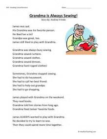 reading comprehension worksheet grandma is always sewing