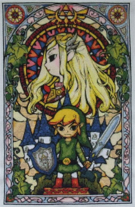 wind waker zelda pattern zelda stained glass window finished eponases