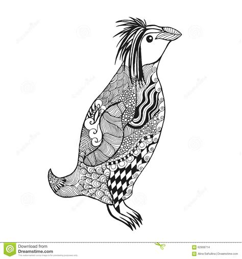 zentangle stylized penguin stock vector illustration