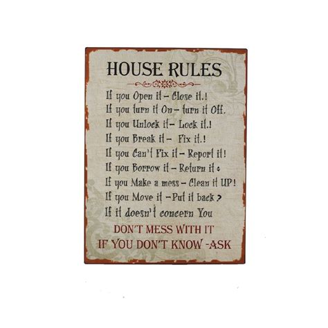 house rules heaven sends house rules metal sign heaven sends from