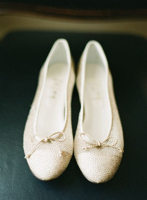 Gold Flat Bridal Shoes by Gold Flat Bridal Shoes Elizabeth Designs The