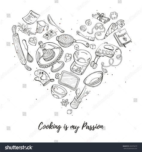 cooking my passion cooking my passion baking tools heart stock vector 404076679 shutterstock