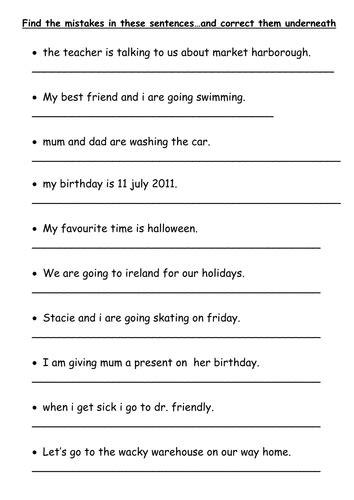 sentence pattern quiz english mistakes worksheets sentence types worksheets opossumsoft