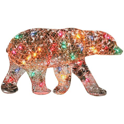 gemmy multicolor mirror frosted vines polar bear outdoor