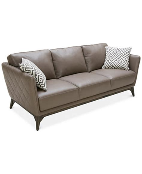 Quilted Leather Sofa Kourtney Quilted Side Leather Sofa Furniture Macy S