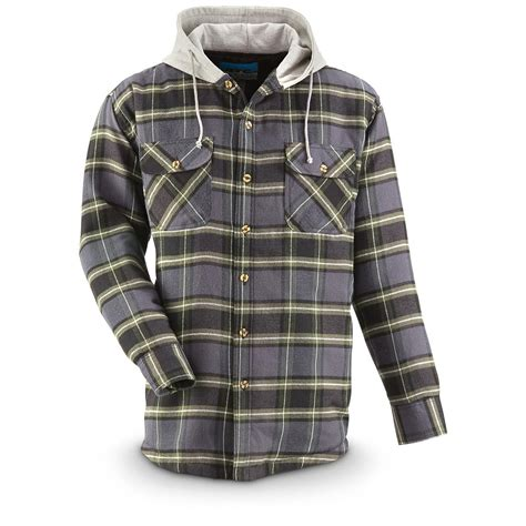 Flanel Flanello s quilt lined hooded flannel shirt 665227 shirts at