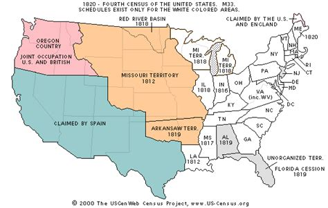 map of us states in 1820 the usgenweb census project