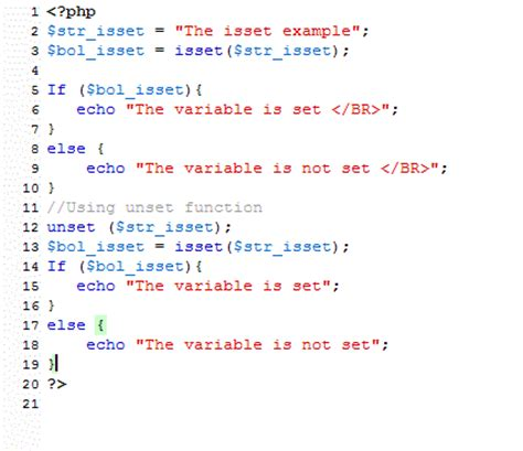 what is template in php php isset and unset with 5 exles and code