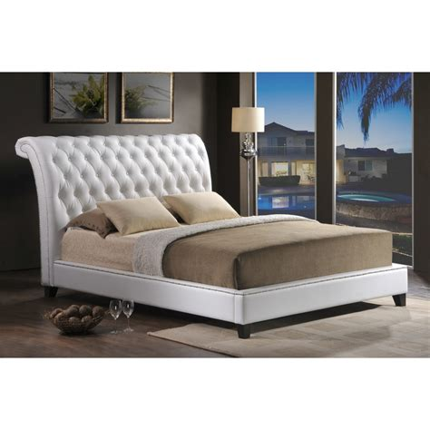modern bed jazmin tufted white modern bed with upholstered headboard