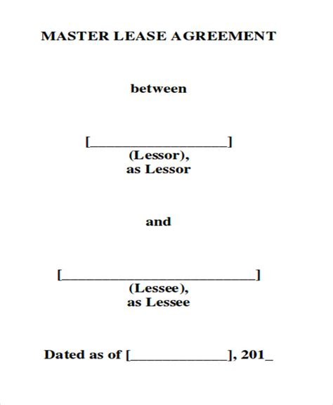 8 Master Lease Agreement Sle Exles In Word Pdf Master Lease Agreement Template