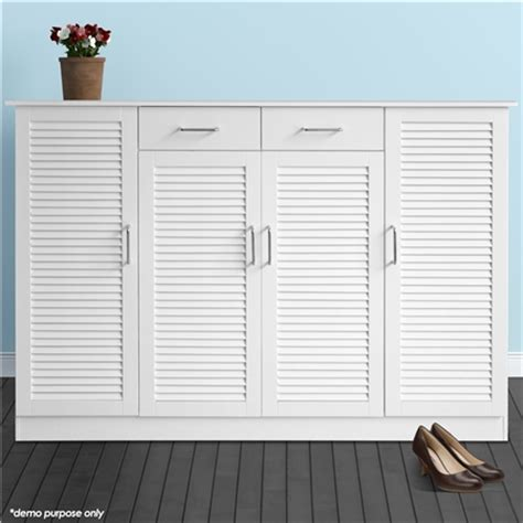 Large Shoe Cabinets With Doors Large White Wooden Shoe Cabinet 40 Pairs Sales