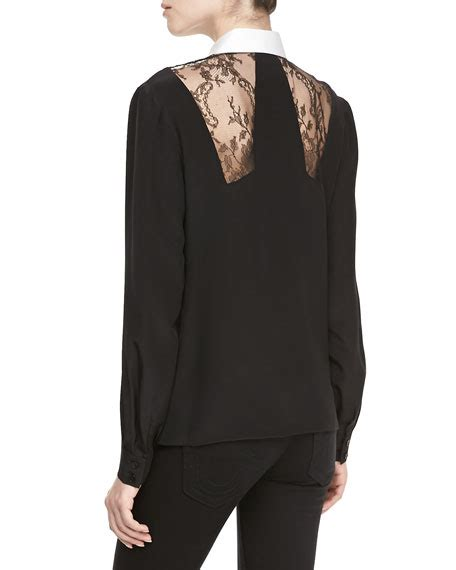 Haylee Lace Combination Blouse jason wu silk lace combo button blouse