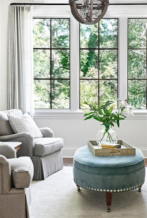 decor pad living room gray roll arm chairs with oval blue ottoman transitional living room