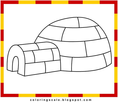 Coloring Page Igloo by Coloring Pages Printable For Igloo Coloring Pages