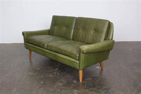 green loveseats mid century modern green leather loveseat by skippers
