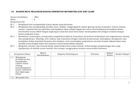 Cd Rpp Biologi Sma Kelas X Xii K13 Edisi Revisi 2017 silabus biologi kelas x xi xii kurikulum 2013