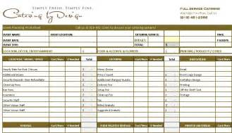 catering planning template wedding catering budget worksheet advanced and simple